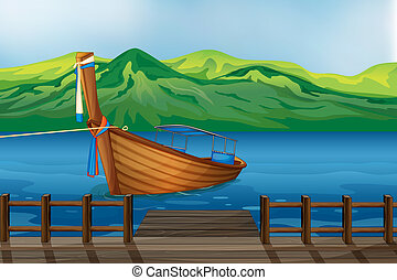 A wooden boat tied at the seaport - Illustration of a wooden...