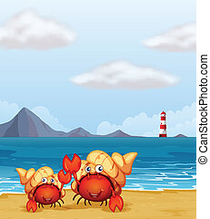 A light house and crabs - Illustration of a light house and...