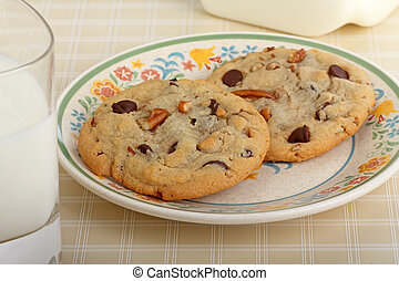 Chocolate Chip Cookies - Two pecan and chocolate chip...