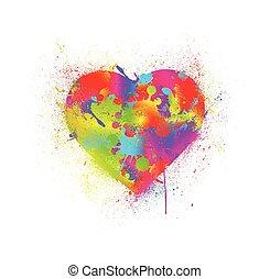 Paint splatter heart. Vector illustration - Paint Splatter...