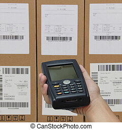 Scanning boxes with barcode scanner operated on smartphone