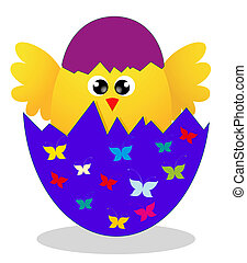 Surprise Yellow Chick Peeking Out Of An Easter Egg. vector illustration