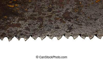 rusty retro metal hand saw blade closeup on white