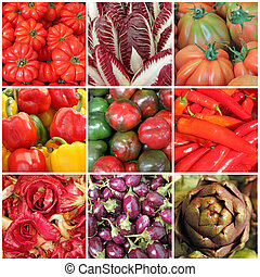 vegetable collage - images from  farmers market, Italy