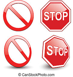 Stop sign, forbidden circle symbol