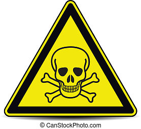 Skull danger sign, symbol.