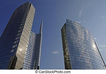 skyscraper in Milan,Italy - view of a skyscraper in...