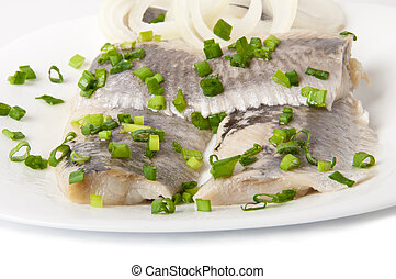 Fillet herring - Portion of typical Dutch herring on the...