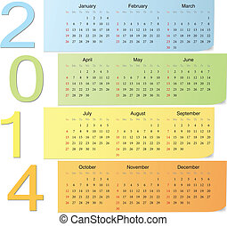 Color vector calendar 2014