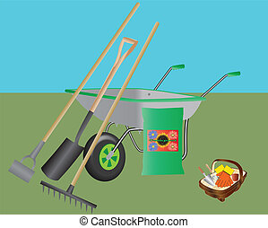 Gardening Tools - A Wheelbarrow,Hoe,Spade,Rake,Compost and a...