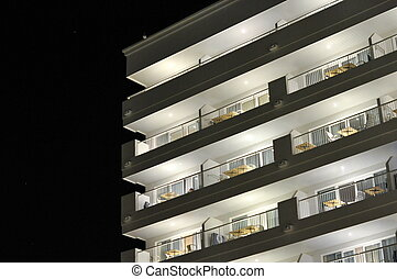 White building by night