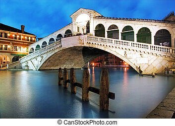 Venice - Rialto bridge at dusk, Italy - Along Rialto Bridge,...