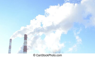 smoke boiler house - smoke fume vapour rise from industrial...