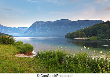 Beautiful view. Lake, mountain, reflection. Lake Bohinj. Slovenia
