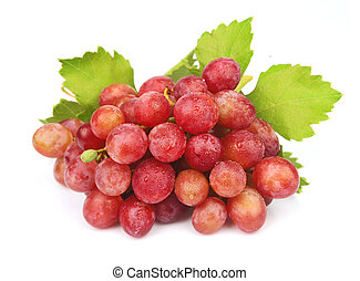 Cluster of  grapes with leaves on a white background