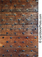 Gothic wood door - Background of an old gothic door from a...