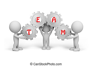 3d person – team - Three people hold the gear with the word...
