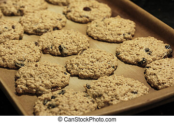 Unbaked Cookie Mounds - cookie dough on a pan ready for the...