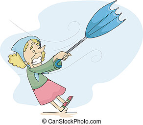 Old Lady during a Windy Weather - Illustration of an Old...