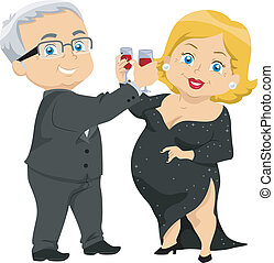 Senior Couple Having a Toast - Illustration of Senior Couple...