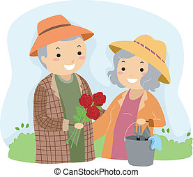 Senior Couple Gardening Stickman