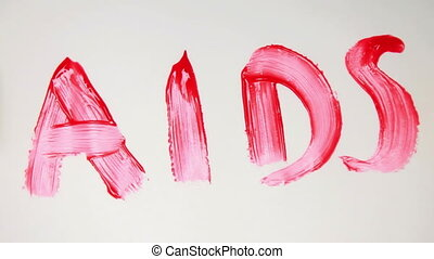 Aids in red paint being crossed out on white surface