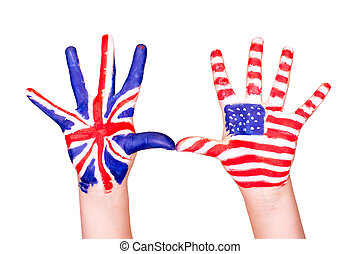 American and English flags on hands Learning English...