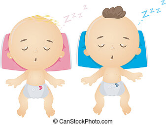 Babies Sleeping - Illustration of Sleeping Male and Female...