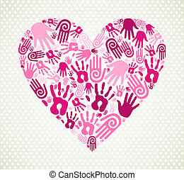 Hand love heart - Love heart made with expressive hand...