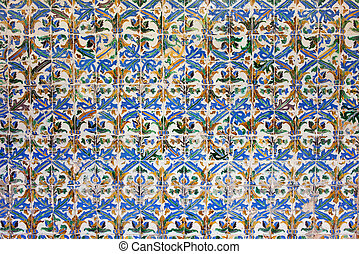 Azulejos Tiles in Mudejar Style Background - Old, historic...