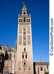 La Giralda Bell Tower in Seville - La Giralda, bell tower of...