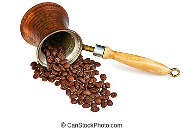 Coffee maker with coffee beans on white background