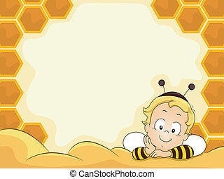 Baby Boy in Beehive Frame - Smiling Baby Boy in Bee Costume...