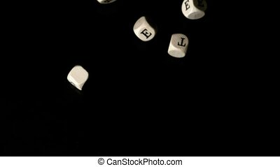 Diabetes dice falling together in slow motion