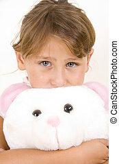 little girl with teddy bear