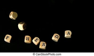 Fathers day dice falling together in slow motion