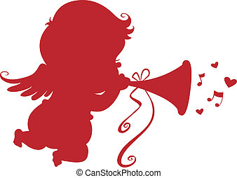 Silhouette Cupid with Trumpet