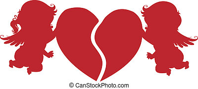 Silhouette Cupids with Heart - Silhouette Boy and Girl...