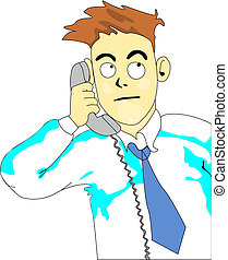 This Is A Call - Frame of business man cartoon alike makes a...