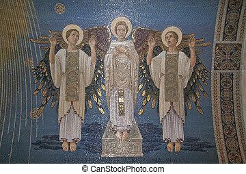 Angels, mosaic, Mount Tabor- Basilica of the Transfiguration