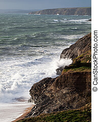 Cornwall Coast Winter Waves - Winter waves along the south...