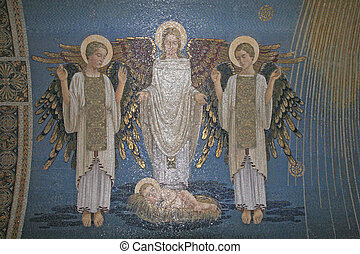 Angels, mosaic, Mount Tabor- Basilica of the Transfiguration