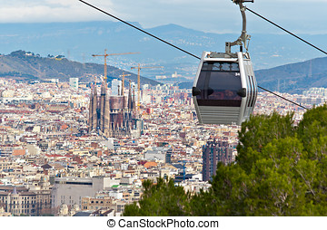 Cablecar in Barcelona with the city in the Background