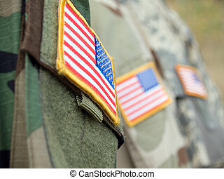 US Flags - US army uniform badge flags