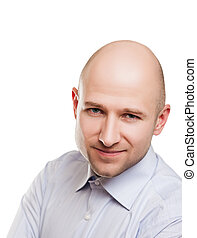 Bald man portrait - Human alopecia or hair loss - smiling...