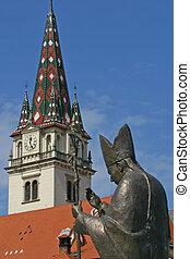 Pope John Paul II statue in Marija Bistrica, Croatia