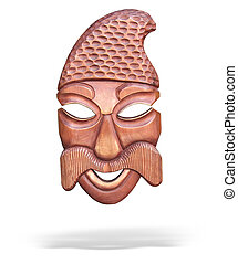 wooden mask with shadow isolated over white background