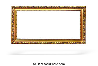 empty picture gold frame with a decorative pattern - Empty...