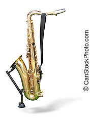 golden saxophone on a support isolated on a white background