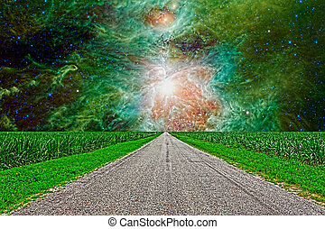 An HDR surreal image of a road through a corn field in the...
